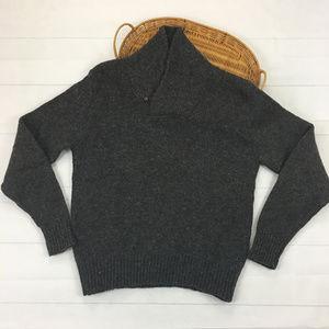 LL Bean Men 1Button Cowl Neck Wool Blend Sweater-M